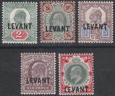 BRITISH LEVANT EDWARD VII OVERPRINTS MINT HINGED SELECTION