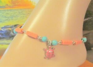 Turtle Anklet Blue & Coral Turquoise Beads, Beach Anklet, Sea Charm Anklet