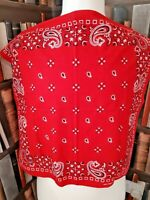 VINTAGE BANDANA/Neck Scarf COTTON RN13960 BIKER ROCKABILLY PAISLEY Red China