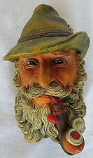 VTG Bossons Wall Ornament Chalkware Face of TYROLEAN HandPainted England