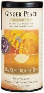 Ginger Peach Black Tea by The Republic of Tea, 50 tea bag with Caffeine