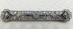 Antique Platinum Diamond & Sapphire Art Deco 18k Gold Brooch