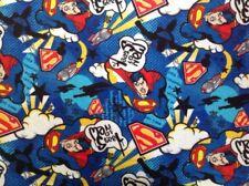 ~ FLANNEL ~ Superman  ~ Licenced~Fabric~ Flannelette ~ Blue~Black ~ Boys ~  FQ ~