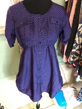 Oh Mamma Maternity Purple Pink Hearts  Pockets Button Down Shirt Med NEW