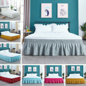 Solid Elastic Lace Bed Skirt Embroidery Bedding Decor Full/Queen/King Size Decor