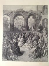 Holland House A Garden Party by Gustave Dore, 1872 Original Antique Print London