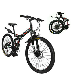 "Xspec 26"" 21 Speed Folding Mountain Bike Bicycle Trail Commuter, Black"