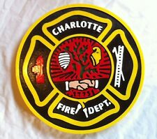Fire Department Charlotte 3D routed carved wood patch plaque sign Custom
