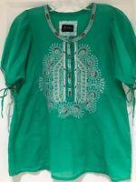 Johnny Was Biya XS Embroidered Cotton Tunic Top EUC