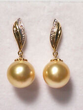10mm golden South Sea pearl dangle earrings,diamonds,solid 14k yellow gold