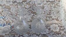 Vintage Pressed Glass Oil & Vinegar Cruets Christmas Poinsettia Design