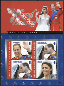 Antigua & Barbuda Royalty Stamps 2011 MNH Royal Wedding Prince William 4v M/S II