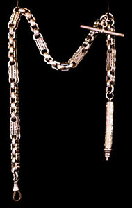 Victorian Pocket Watch Chain & Sterling Silver Propelling Pencil & T-Bar - VGC