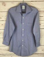 Brooks Brothers Milano Blue White Non-Iron Supima Men's Dress Shirt Size 14.5-32
