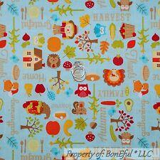 BonEful Fabric Cotton Quilt VTG Holiday Orange Leaf Tree Pumpkin Turkey 99 SCRAP