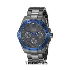 NEW GUESS WATCH for Men * Iconic signature * Blue Top Ring w/Gunmetal * U0601G1