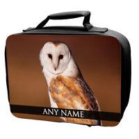 Personalised Owls Animals Lunch Bag School Kids Barn Owl Eagle Great Grey Birds