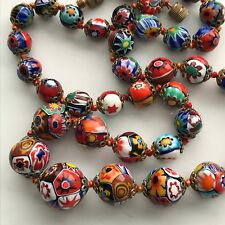 Vintage  Italian Millefiori  Art Glass  glass bead Beaded Necklace
