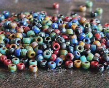 7/0 Matubo Mix Opaque Picasso Seed Beads 10-Grams Red Blue Yellow Turquoise Jet