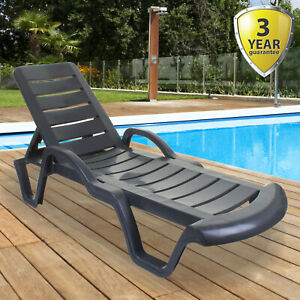 SUN LOUNGER OUTDOOR GARDEN PATIO GREY PLASTIC WIPE CLEAN RECLINING RELAXER BED