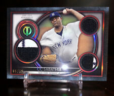 🔥2020 Topps Tribute CC Sabathia Triple Relics Red Holo SSP #/10 NY Yankees🔥
