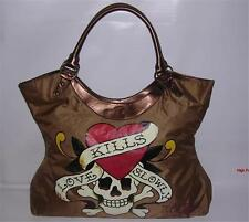 ED HARDY Love Kills Slowly Handbag Skull Tattoo Metallic Brown Bronze Large Bag