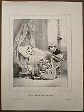 Lithographie, Le mari dehors la femme à la maison, Devéria vers 1830
