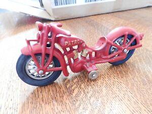 Hubley Popeye Patrol Cast Iron Large Sized Motorcycle