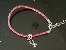 Woven Plaited Aids Awareness Red Ribbon PU Bracelet Silvertone HOPE Charm
