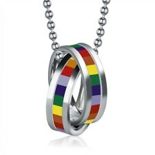 Gay Pride LGBT Lesbian Love Necklace Jewellery Stainless Steel Filled Band