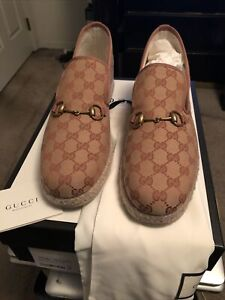 Men's Gucci GG Beige and Brown Espadrilles Size 13G 14US