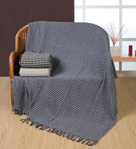 100% Cotton Woven Houndstooth Geometric Sofa / Bed Throw in 3 colours 2 Sizes