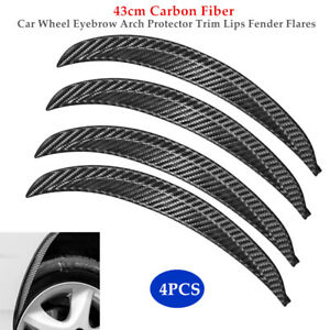 4PCS 43cm Carbon Fiber Car Wheel Eyebrow Arch Protector Trim Lips Fender Kit