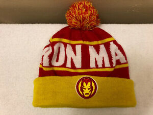 Marvel Kids Iron Man Winter Knit Hat Red & Yellow With PomPon Spell Out & Logo