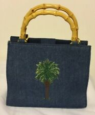 Vintage Denim Purse with Bamboo Handles