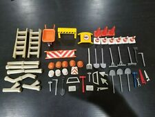 Lot Playmobil Construction Accessories -VGC- Hats Tools Cones Ladders Pipes