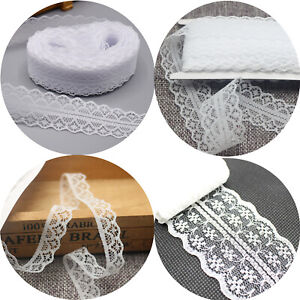 20 Yards White Handicrafts Embroidered Lace Ribbon Trim Wedding Applique Sewing