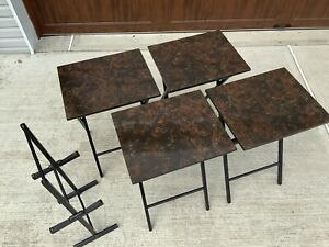 5-Piece Wood and Brown Faux Marble Folding TV Snack Tray Table Set with Stand