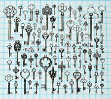 82 Antique Vtg old look Silver Skeleton Key Lot Ornate Fancy Steampunk Heart Bow
