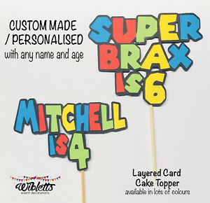 SUPER MARIO INSPIRED THEME BIRTHDAY PARTY CAKE TOPPER PERSONALISED NAME & AGE