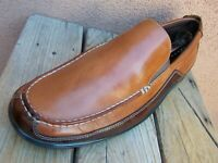 COLE HAAN Mens Dress Shoes Cognac Brown Casual Moccasin Driver Loafers Size 9.5M