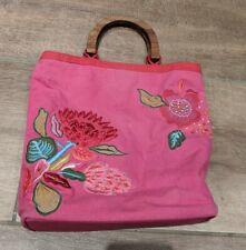 Accessorize Girls Bag (Dark Pink) with Flower, Wooden Handles, zip pocket inside