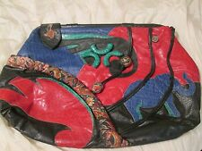 Rare Large Vintage Colini Handbag USA Artistic Colorful Leather