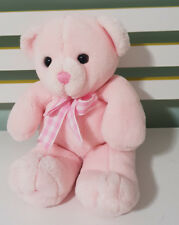 KEEL TOYS PINK TEDDY BEAR  PLUSH TOY SOFT TOY 30CM PINK BOW CHECKERED BOW!