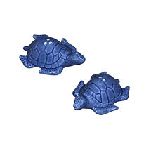 "Andrea SADEK Ceramic 3.75"" Blue Sea Turtles Salt/Pepper Shakers Set #21568 NIB"
