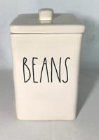 """Rae Dunn Ceramic Long Rectangle """"BEANS"""" Canister  Brand New!"""