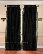Black Anneau Top Sheer Sari Curtain / Drape / Panel - Piece