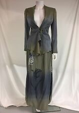 Giorgio Armani Hand Painted Silk Lace Skirt Suit Mother Of The Bride 38