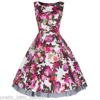 PRETTY KITTY CREAM RED FLORAL AUDREY PROM ROCKABILLY COCKTAIL SWING DRESS 8-26