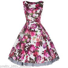 Vintage Cream White Pink Floral Audrey Rockabilly Swing 50s Cocktail Dress Plus